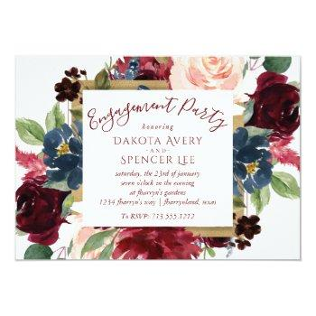 Small Elegant Floral | Burgundy Marsala Red Engagement Invitation Front View