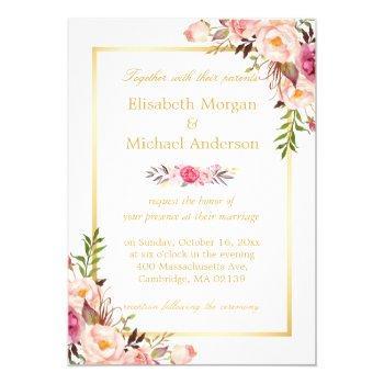 elegant floral chic gold white formal wedding invitation