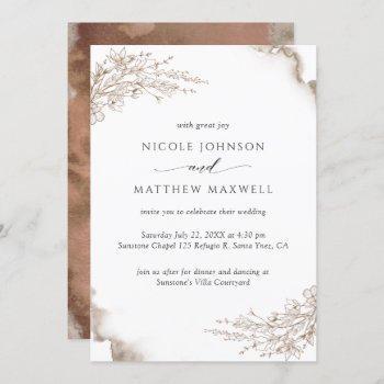 elegant floral, earthy tones watercolor wedding invitation