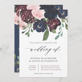 elegant floral navy blue and plum | wedding invitation