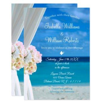 elegant floral ocean beach summer wedding invitation