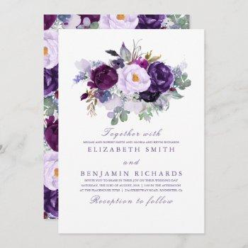 elegant floral | purple watercolors wedding invitation