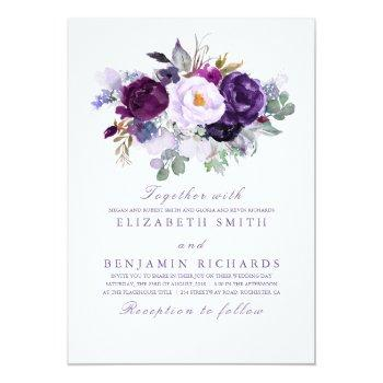 Small Elegant Floral   Purple Watercolors Wedding Invitation Front View