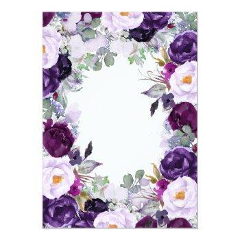 Small Elegant Floral   Purple Watercolors Wedding Invitation Back View