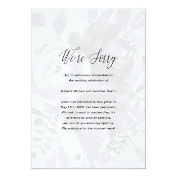 Small Elegant Floral Wedding Postponement Photo Announcement Front View