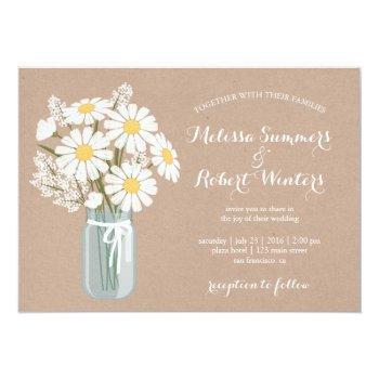 elegant floral white daisies mason jar wedding invitation