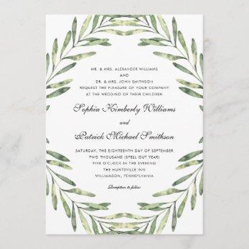 elegant foliage | all parents hosting wedding invitation