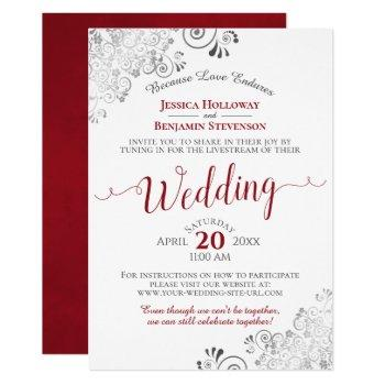 elegant frilly red on white wedding livestream invitation