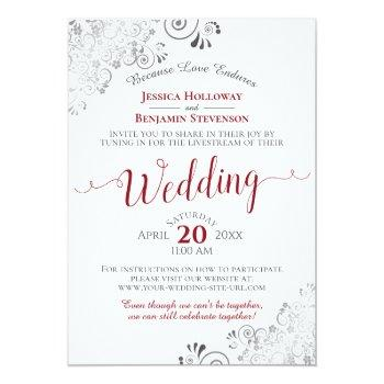 Small Elegant Frilly Red On White Wedding Livestream Invitation Front View