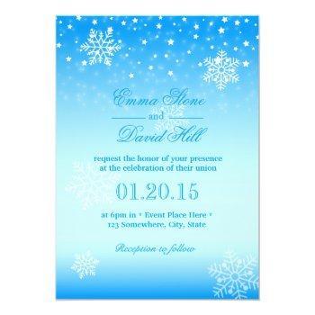 elegant frozen winter snowflakes blue wedding invitation