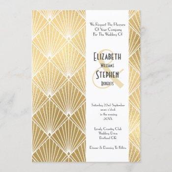 elegant gatsby art deco 1920's gold wedding invitation