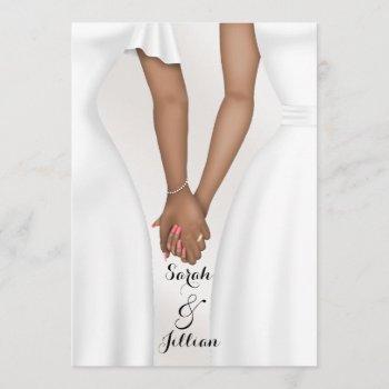 elegant gay wedding bride holding hands ethnic invitation