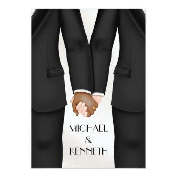 elegant gay wedding groom holding hands ethnic invitation