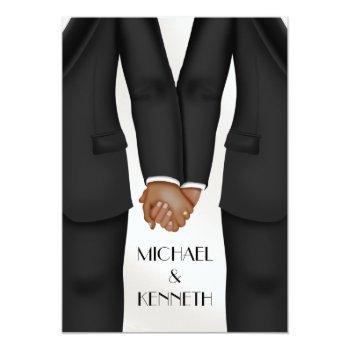 elegant gay wedding groom holding hands ethnic invitation