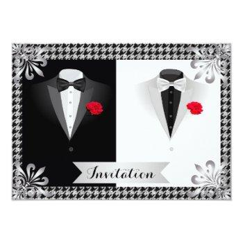 elegant gay wedding invitation with tuxedos
