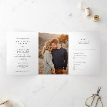 elegant gem white classic all-in-one wedding photo tri-fold invitation
