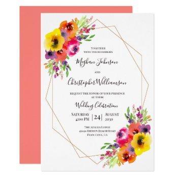 elegant geometric bright watercolor floral wedding invitation