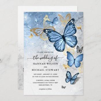 elegant gold baby blue butterfly wedding invitation