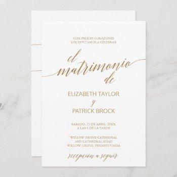 elegant gold calligraphy | spanish details wedding invitation