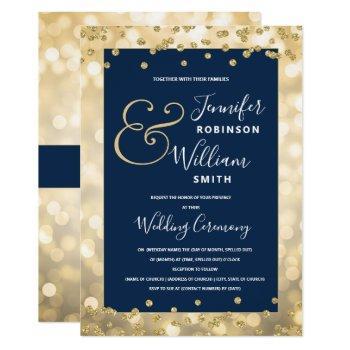 elegant gold champagne navy blue wedding invitation