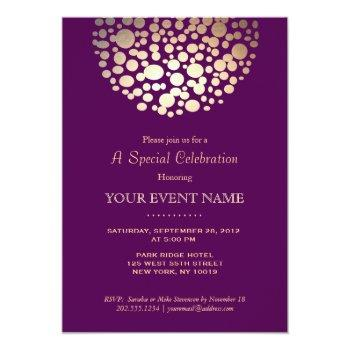 elegant gold circle sphere purple formal invitation