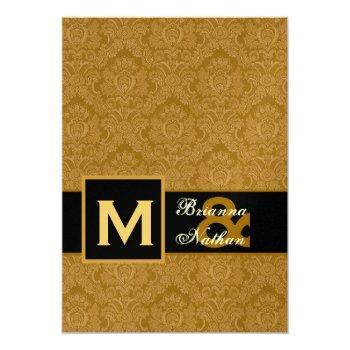 elegant gold damask premium metallic wedding invitation
