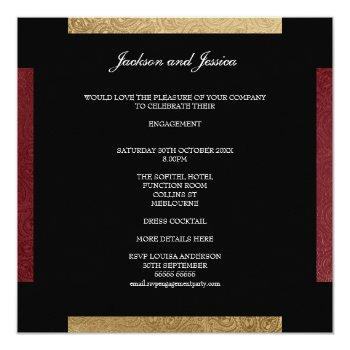 Small Elegant Gold Dark Red Paisley Engagement Party Invitation Back View