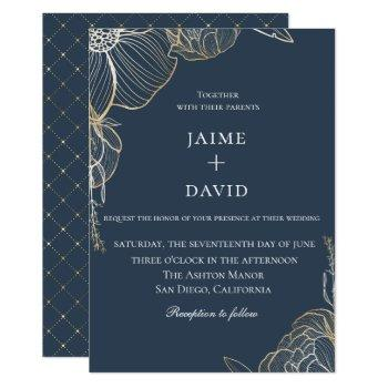 elegant gold floral botanical wedding invitation