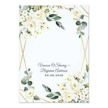 Small Elegant Gold Geometric Floral Greenery Wedding Invitation Back View