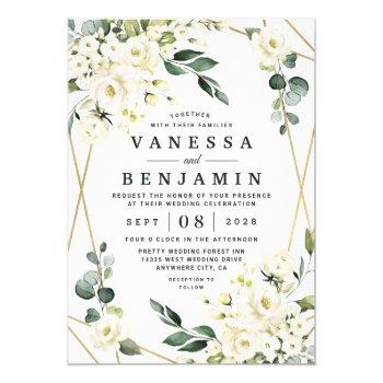 elegant gold geometric floral greenery wedding invitation