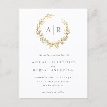 elegant gold hand-drawn wreath initials wedding invitation postcard