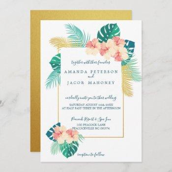 elegant gold hawaiian hibiscus wedding invitations