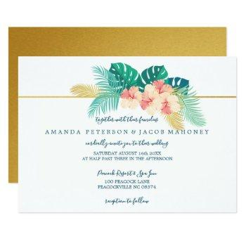 elegant gold hawaiian hibiscus wedding invitations
