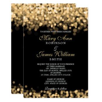 elegant gold lights wedding invitation