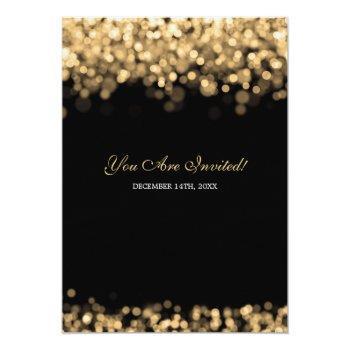 Small Elegant Gold Lights Wedding Invitation Back View