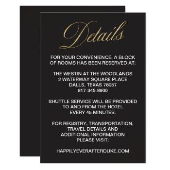 elegant gold new years eve wedding detail card