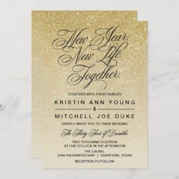 elegant gold new years eve wedding invitation