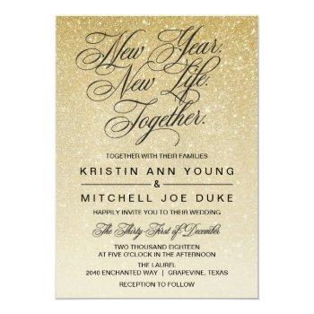 Small Elegant Gold New Years Eve Wedding Invitation Front View
