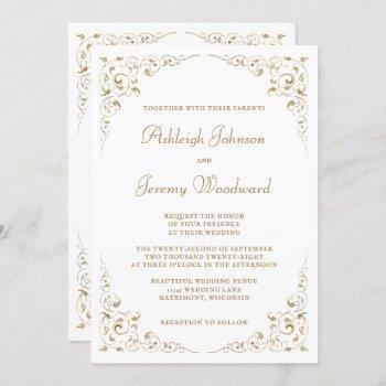 elegant gold script botanical frame wedding invitation