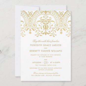 elegant gold vintage glamour wedding invitation