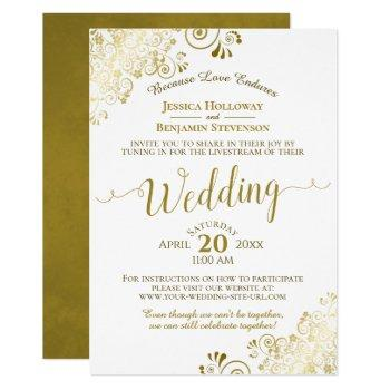 elegant gold & white virtual wedding livestream invitation