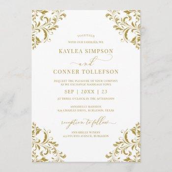 elegant gold winter holiday wedding invitation
