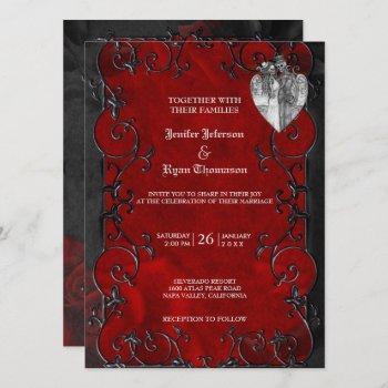 elegant gothic halloween wedding invitation