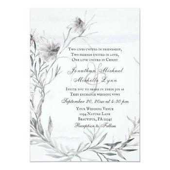 elegant gray floral watercolor christian wedding invitation