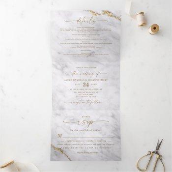 elegant gray & white marble with gold foil wedding tri-fold invitation