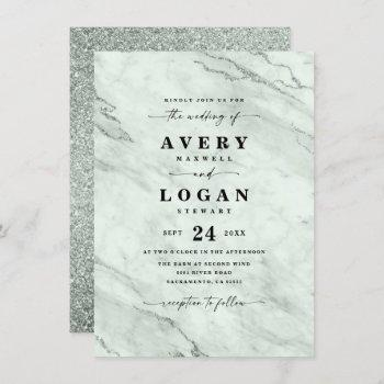 elegant green marble & glitter wedding invitation
