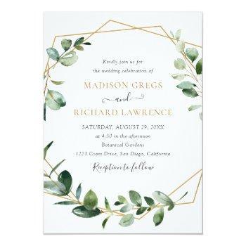 Small Elegant Greenery Gold Geometric Frame Wedding Invitation Front View