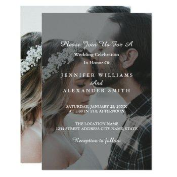 elegant grey & white photo wedding invitation