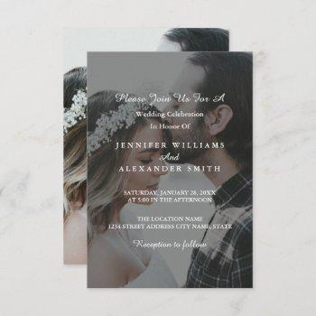 elegant grey & white photo wedding invitation