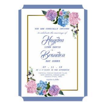 elegant hydrangea wedding invitation